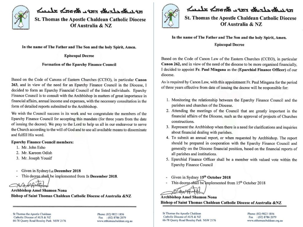 Episcopla Decree: Formation of Eparchy Finance Council of St